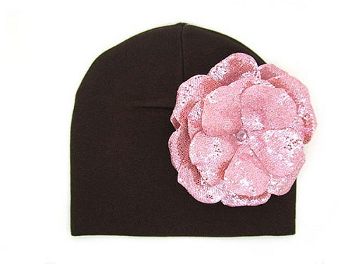 Brown Cotton Hat with Sequins Pale Pink Rose