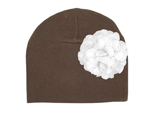 Brown Cotton Hat with White Large Geraniums