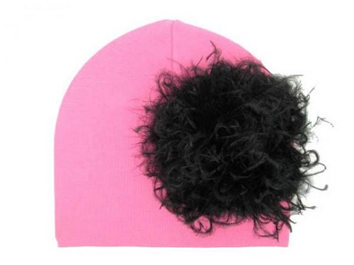 Candy Pink Cotton Hat with Black Large Curly Marabou