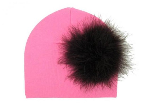 Candy Pink Cotton Hat with Black Large regular Marabou