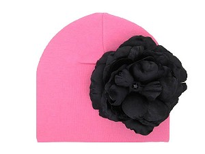 Candy Pink Cotton Hat with Black Large Rose