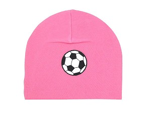 Candy Pink Applique Hat with Black Soccer Ball