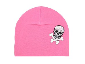 Candy Pink Applique Hat with Black Skull