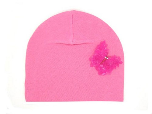 Candy Pink Applique Hat with Candy Pink Butterfly