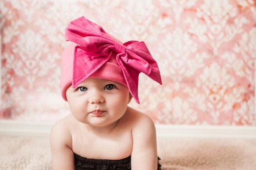 Candy Pink Cotton Hat with Candy Pink Bow-Rae-Mi