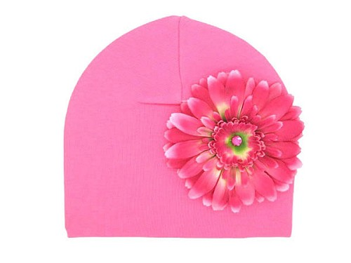 Candy Pink Cotton Hat with Candy Pink Daisy