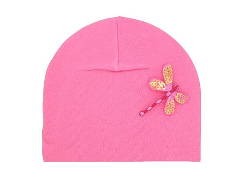 Candy Pink Applique Hat with Candy Pink Dragonfly