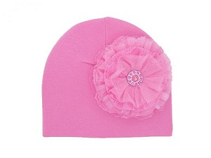 Candy Pink Cotton Hat with Candy Pink Lace Rose