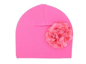 Candy Pink Cotton Hat with Candy Pink Large Geraniums
