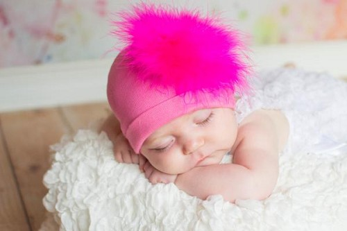 Candy Pink Cotton Hat with Hot Pink Large regular Marabou