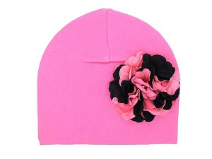 Candy Pink Cotton Hat with Pink Black Large Geraniums
