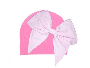 Candy Pink Cotton Hat with Pale Pink Bow-Rae-Mi