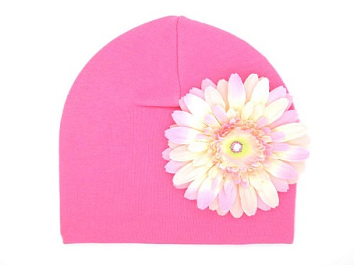 Candy Pink Cotton Hat with Pale Pink Daisy