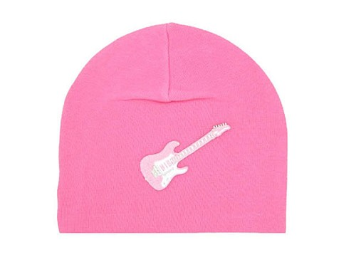 Candy Pink Applique Hat with Pale Pink Guitar