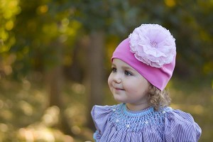 Candy Pink Cotton Hat with Pale Pink Lace Rose