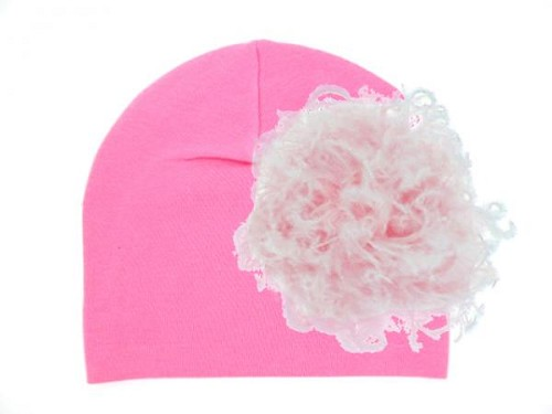 Candy Pink Cotton Hat with Pale Pink Large Curly Marabou