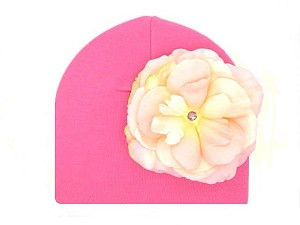 Candy Pink Cotton Hat with Pale Pink Large Rose