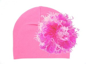 Candy Pink Cotton Hat with Pink Raspberry Large Curly Marabou