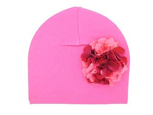 Candy Pink Cotton Hat with Pink Raspberry Large Geraniums