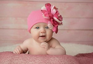 Candy Pink Cotton Hat with Pink Raspberry Large Peony