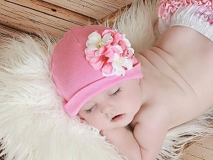 Candy Pink Cotton Hat with Pink White Large Geraniums