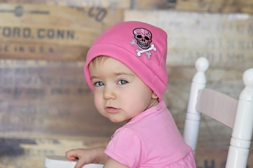 Candy Pink Applique Hat with Pink White Skull