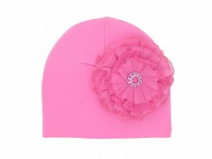 Candy Pink Cotton Hat with Raspberry Lace Rose