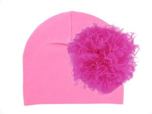Candy Pink Cotton Hat with Raspberry Large Curly Marabou