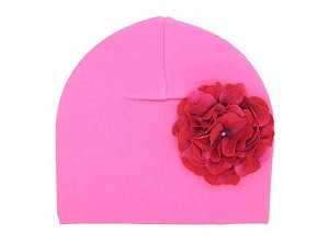 Candy Pink Cotton Hat with Raspberry Large Geraniums