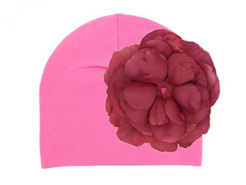Candy Pink Cotton Hat with Raspberry Large Rose