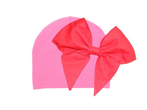 Candy Pink Cotton Hat with Red Bow-Rae-Mi