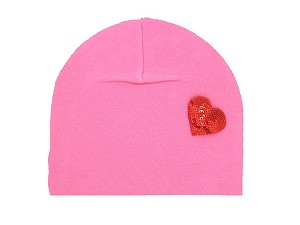 Candy Pink Applique Hat with Red Heart