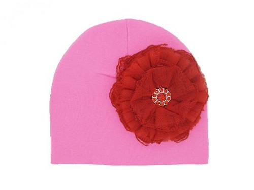 Candy Pink Cotton Hat with Red Lace Rose