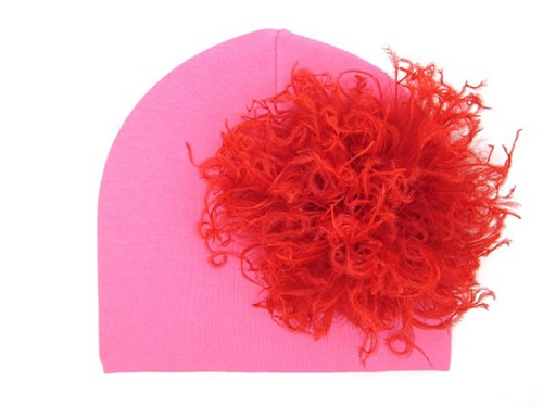 Candy Pink Cotton Hat with Red Large Curly Marabou