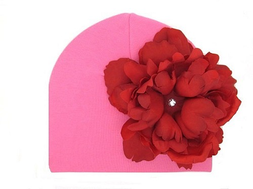 Candy Pink Cotton Hat with Red Large Peony