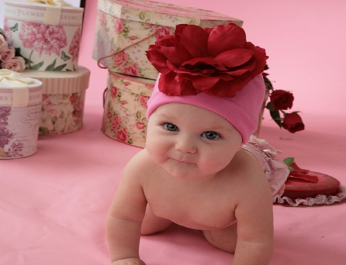 Candy Pink Cotton Hat with Red Large Rose
