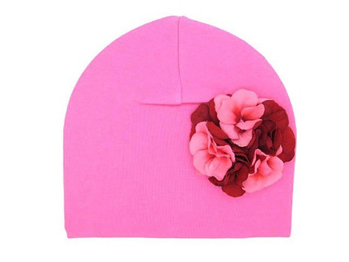 Candy Pink Cotton Hat with Red Pink Large Geraniums