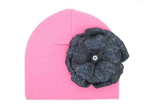 Candy Pink Cotton Hat with Sequins Black Rose