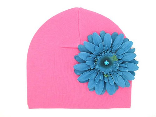 Candy Pink Cotton Hat with Teal Daisy