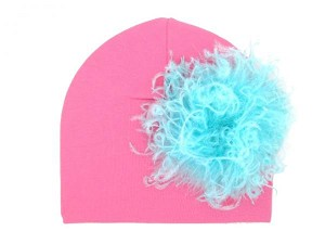 Candy Pink Cotton Hat with Teal Large Curly Marabou