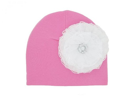 Candy Pink Cotton Hat with White Lace Rose