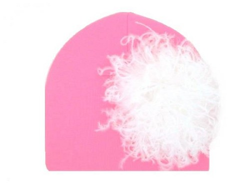 Candy Pink Cotton Hat with White Large Curly Marabou