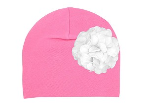 Candy Pink Cotton Hat with White Large Geraniums