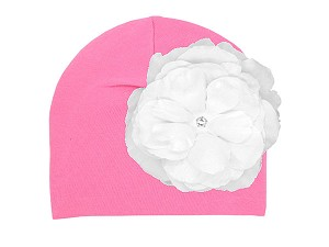 Candy Pink Cotton Hat with White Large Rose