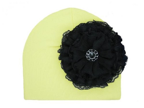 Cream Cotton Hat with Black Lace Rose