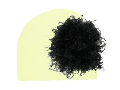 Cream Cotton Hat with Black Large Curly Marabou