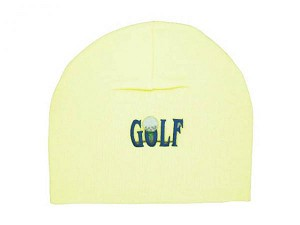 Cream Applique Hat with Blue Golfball