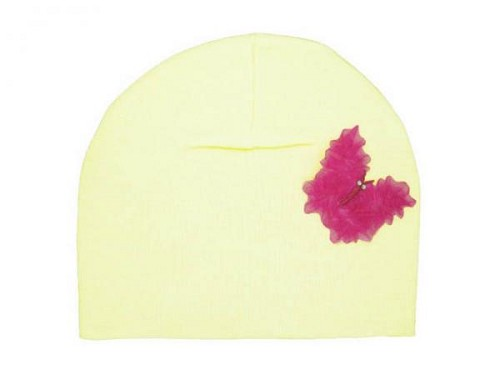 Cream Applique Hat with Candy Pink Butterfly