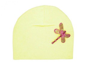 Cream Applique Hat with Candy Pink Dragonfly