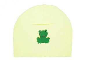 Cream Applique Hat with Green Frog